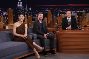 Jessica Biel and Justin Timberlake during an interview with host Jimmy Fallon.