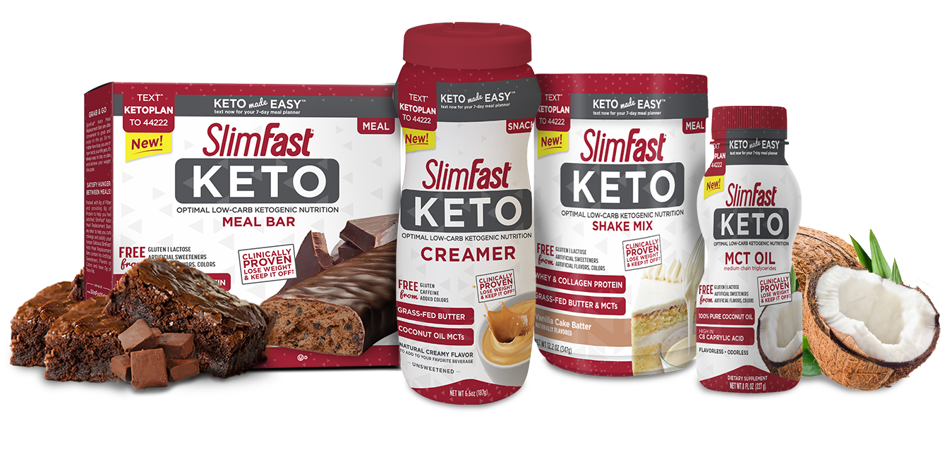 keto-creamer - To help dieters stick to the low-carb, high-fat lifestyle, SlimFast now offers kets-friendly treats such as triple chocolate bars and vanilla cake shake mixes. ( slimfastketo.com )