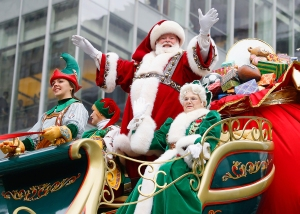 Santa Claus and Mrs. Claus attend the 90th Annual Macy's Thanksgiving Day Parade