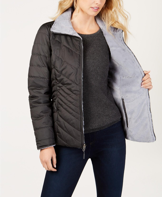 mid Asphalt gray version north face jacket reversible