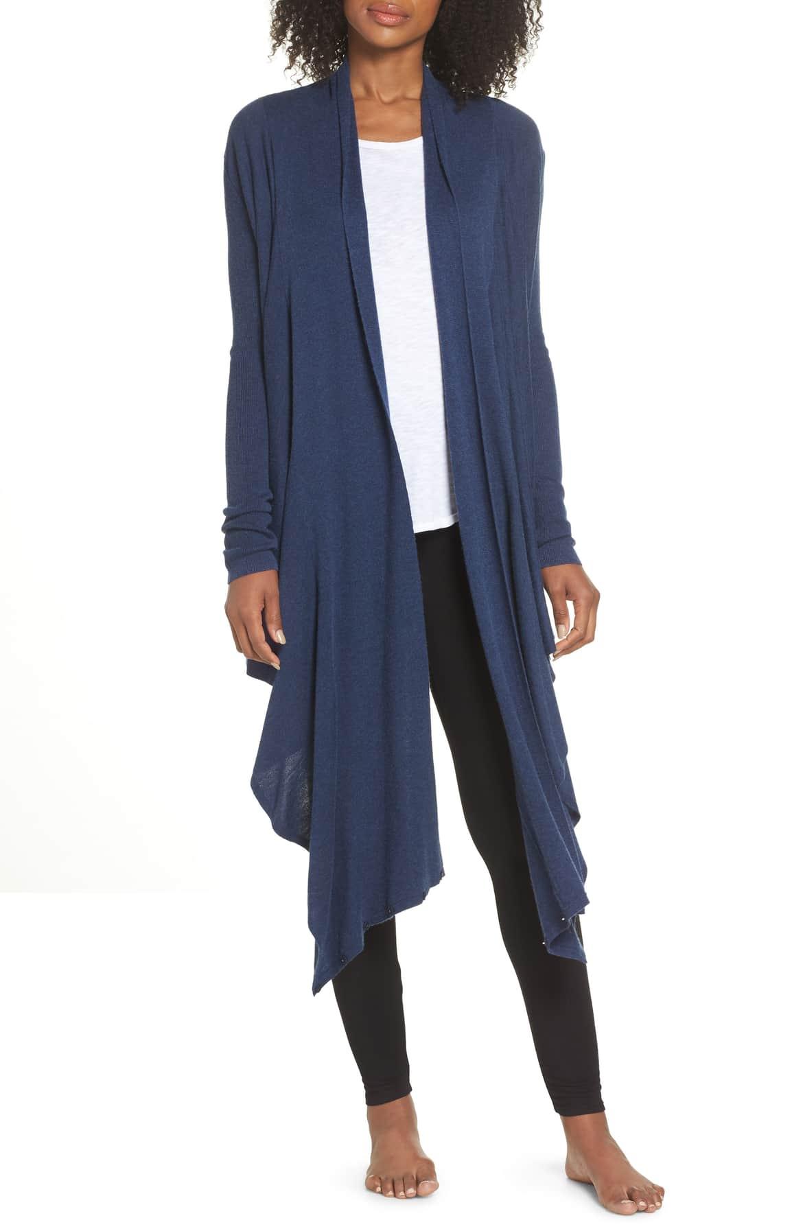 nordstrom lingerie long wrap blue