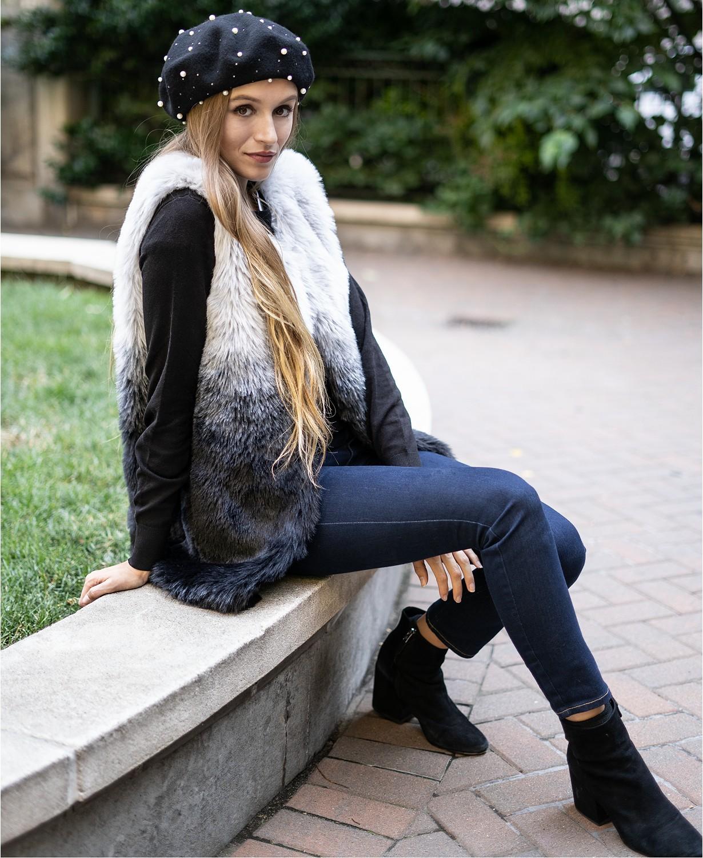 ombre faux fur vest INC