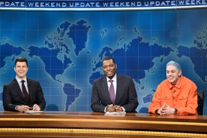 "Colin Jost and Michael Che with Pete Davidson during ""Weekend Update."""