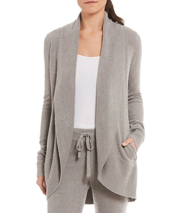 pewter cozy open front cardigan