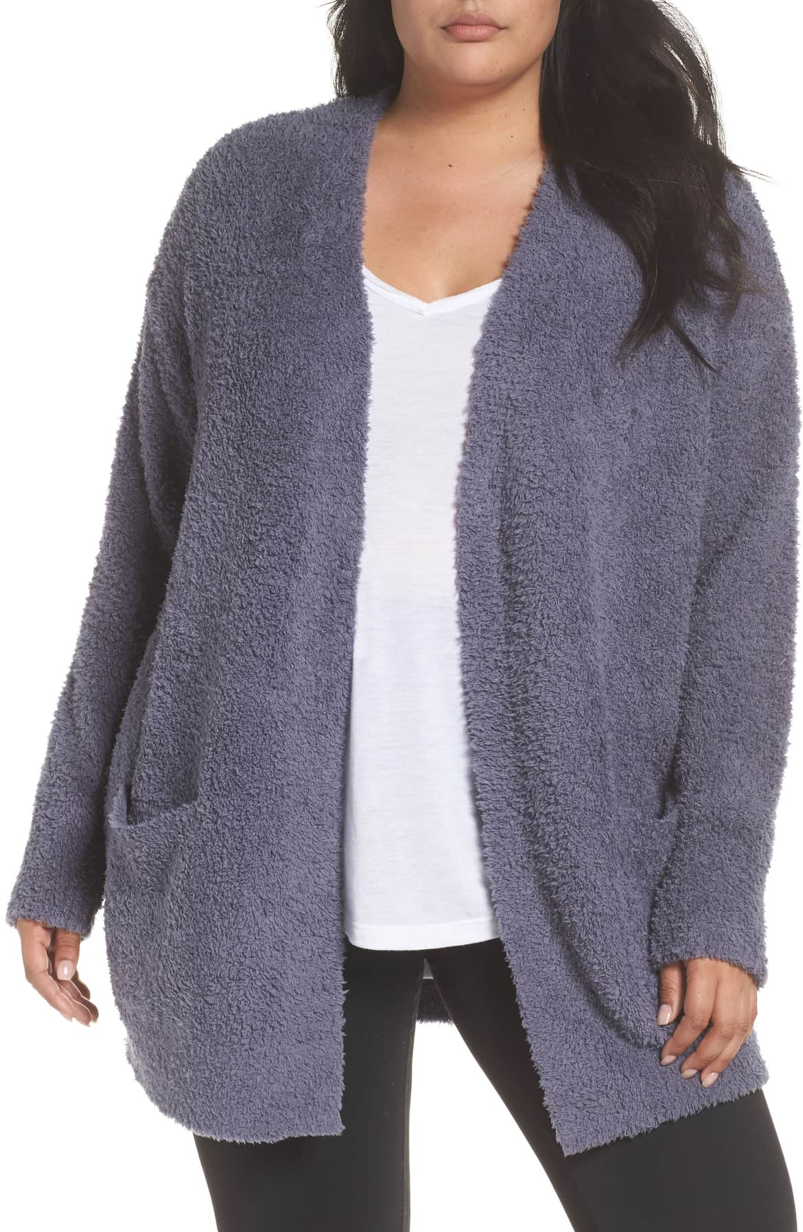 plus size barefoot dreams cozy chic cardigan blue