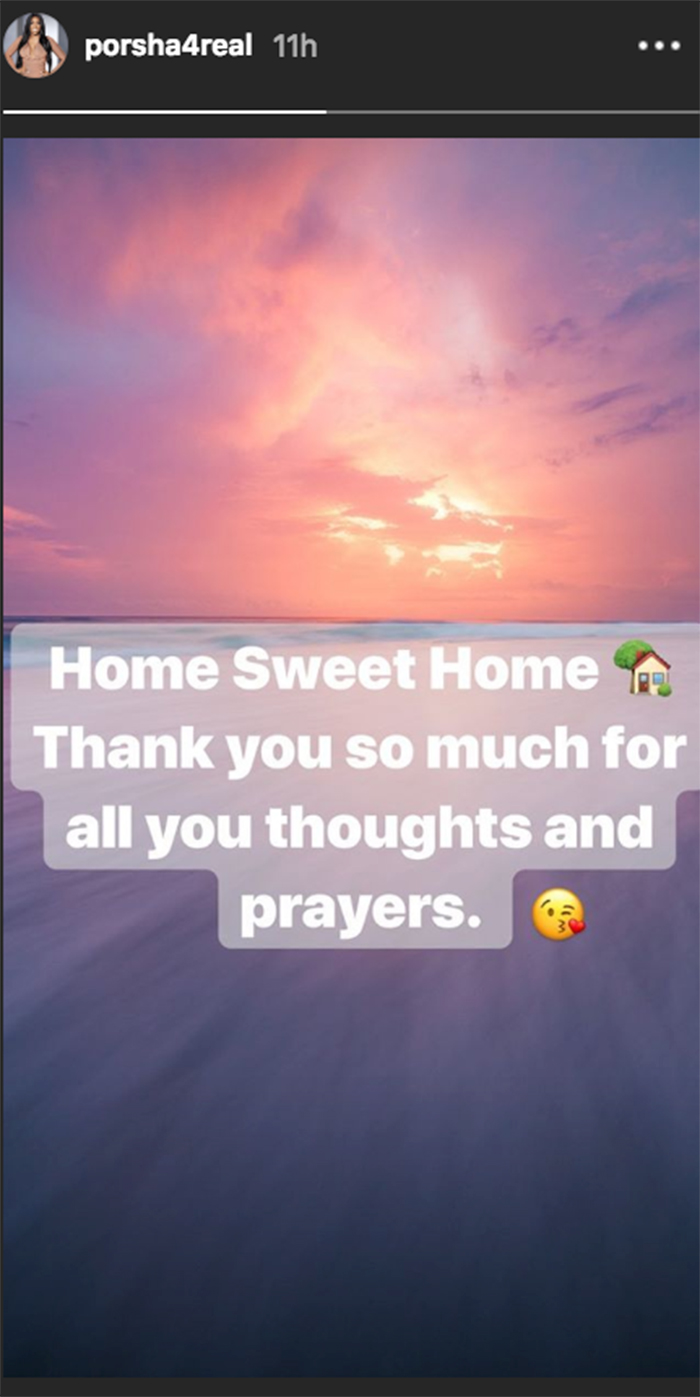 Porsha Williams insta home from hospital