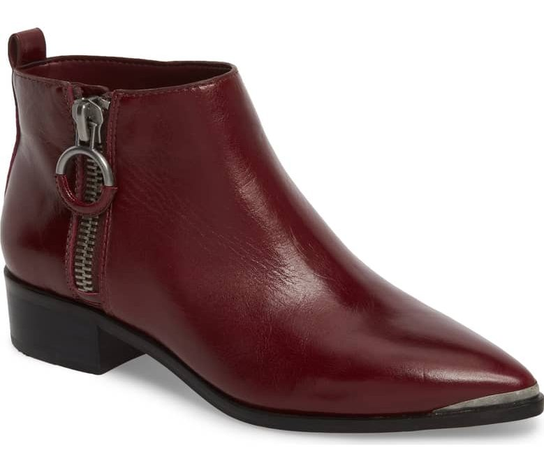 red ankle boot gold hardware