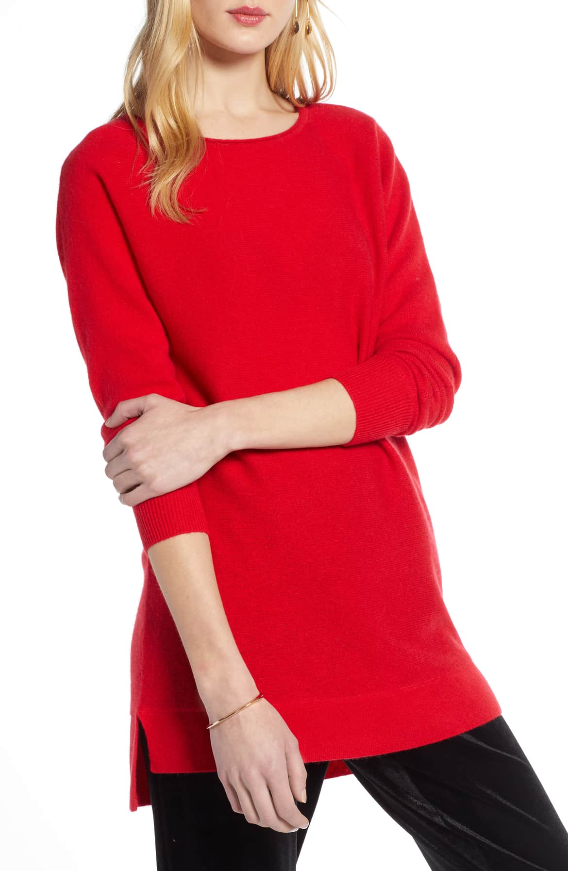 red cashmere wool tunic sweater
