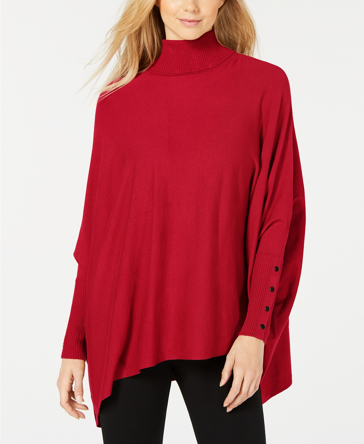 red poncho sweater