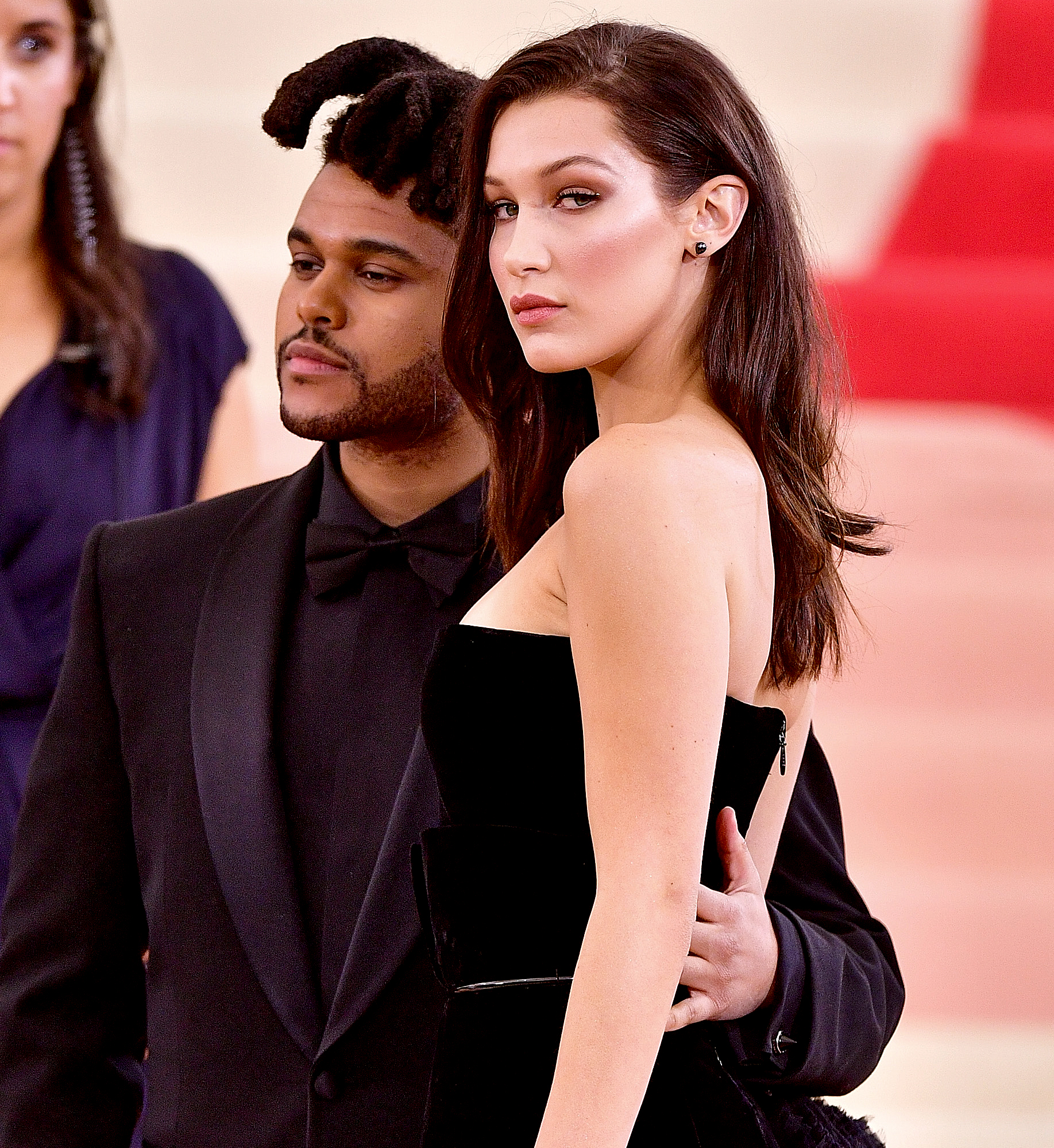 "16-Date-Night-bella-hadid-the-weeknd - The Victoria's Secret angel and The Weeknd enjoyed a romantic dinner at Matsuhisa in Beverly Hills in July 2018. An onlooker told Us the two were ""very sweet and laughing and whispering with each other"" while ""sitting on the same side of a four top instead of across from each other."""