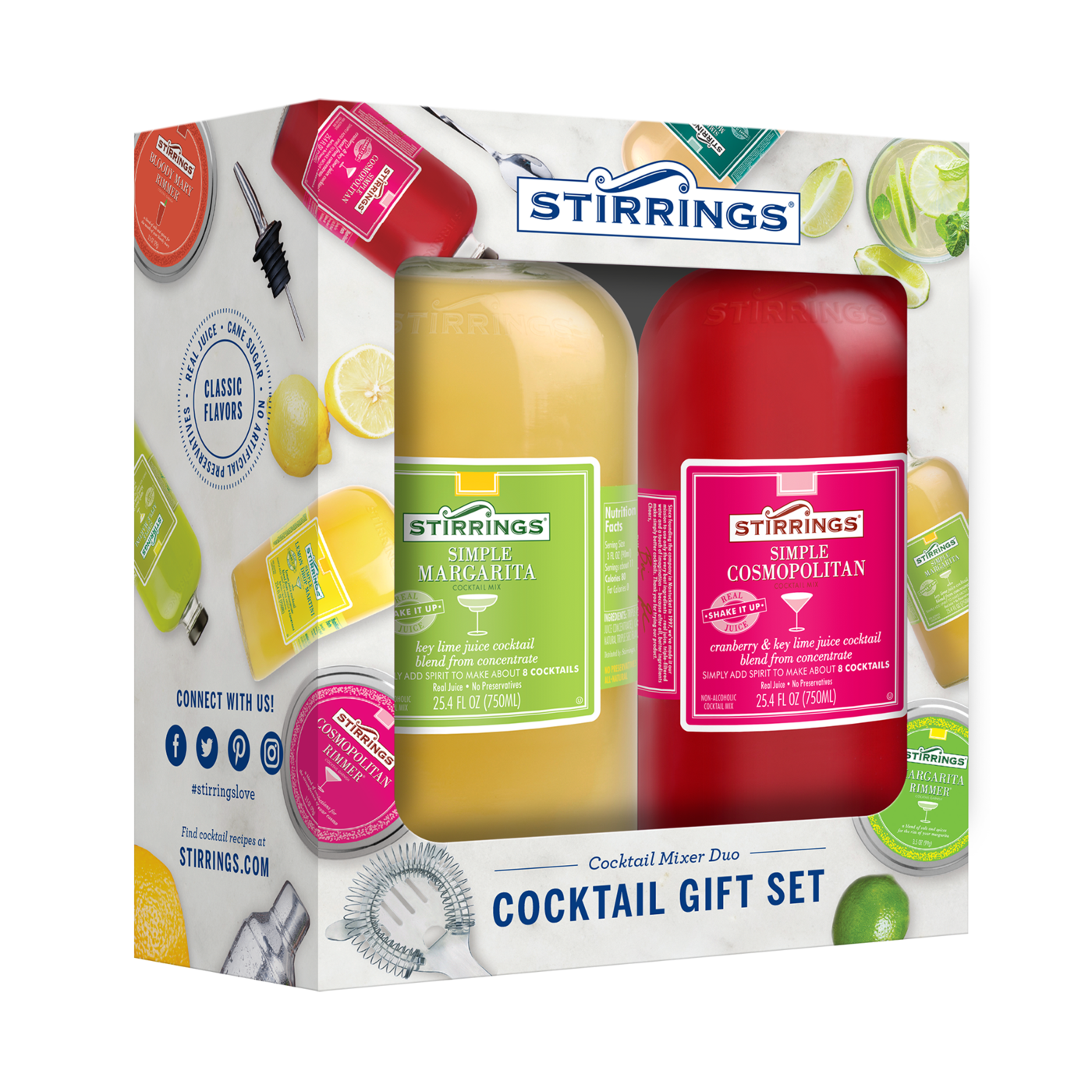 22. Stirrings Cocktail Mixer Duo Set - A perfect holiday host gift to complete a friend's at-home bar, Stirrings Mixers offer a colorful and flavorful cocktail mixer, presented in a premium glass bottle, with a unique shape – a must for any bar cart! Choose any two flavors among options such as blood orange martini and lemon drop.