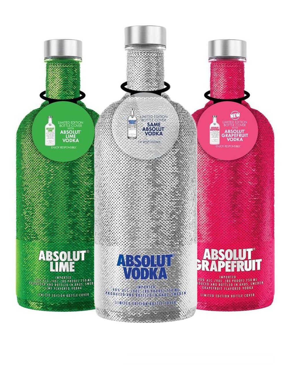23. Absolut Holiday Sequin 3-Bottle Set - Add a little sparkle to a loved one's life with this trio of blinged-out bottles. The silver bottle contains plain Absolut vodka, while the green bottle has lime-flavored liquor and the red bottle sports Absolut Grapefruit.