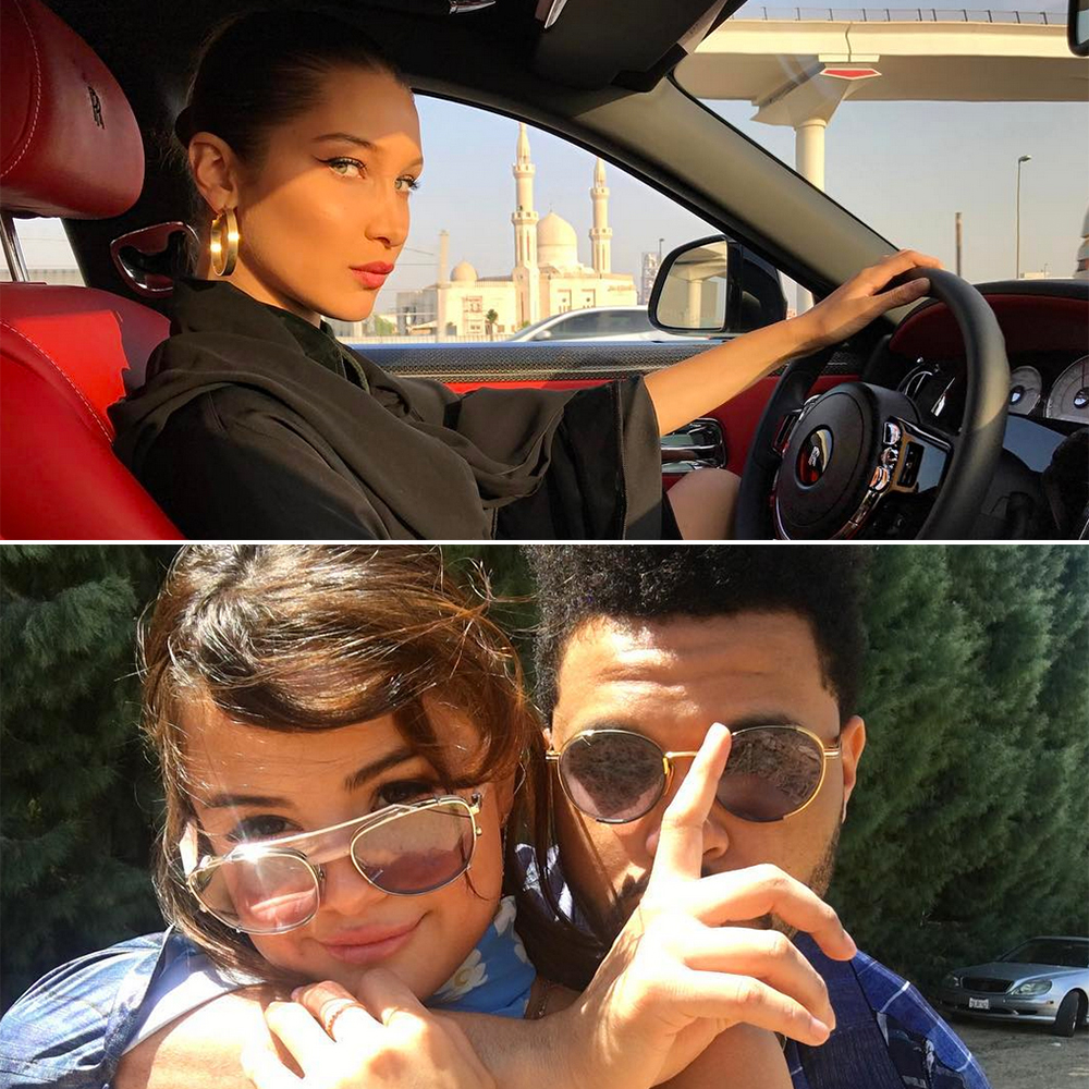 "7-bella-hadid-selena-gomez-the-weeknd-coachella - While The Weeknd and the ""Wolves"" singer enjoyed Coachella in April 2017, an unfazed Hadid enjoyed a getaway to Dubai , where she went sky-diving, cruised around in a classic car and embarked on a fabulous boat ride."
