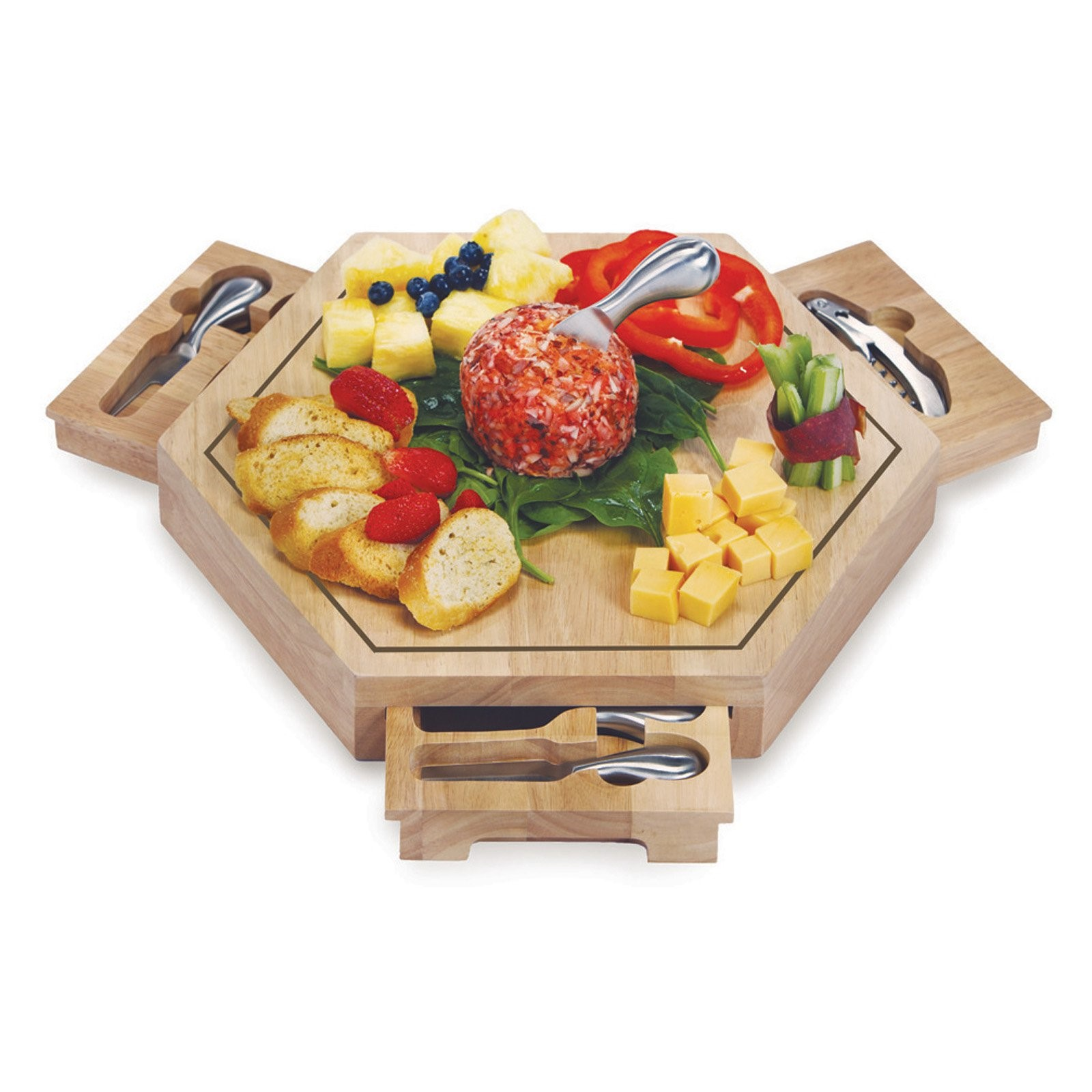 8 Picnic Plus Bergamo Cheese Board - Look like the hostess with the most-est thanks to this hexagon-shaped cheese board with a natural wood grain finish. Unlike most cheese displays, this one features three magnetic pull-out drawers that are perfect for storing utensils.