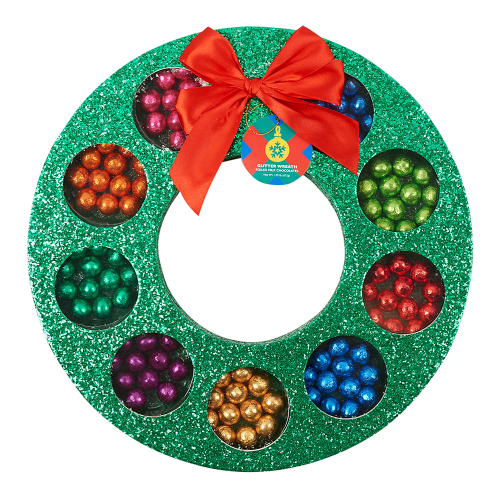 9. Dylan's Candy Bar Foiled Bar Glitter Wreath - Bring some festive and edible cheer with you this holiday season with the celeb-approved candy store's take on a traditional wreath that's show-stopping, glittery and filled with multicolored foiled chocolates. It's perfect for the young and young at heart.