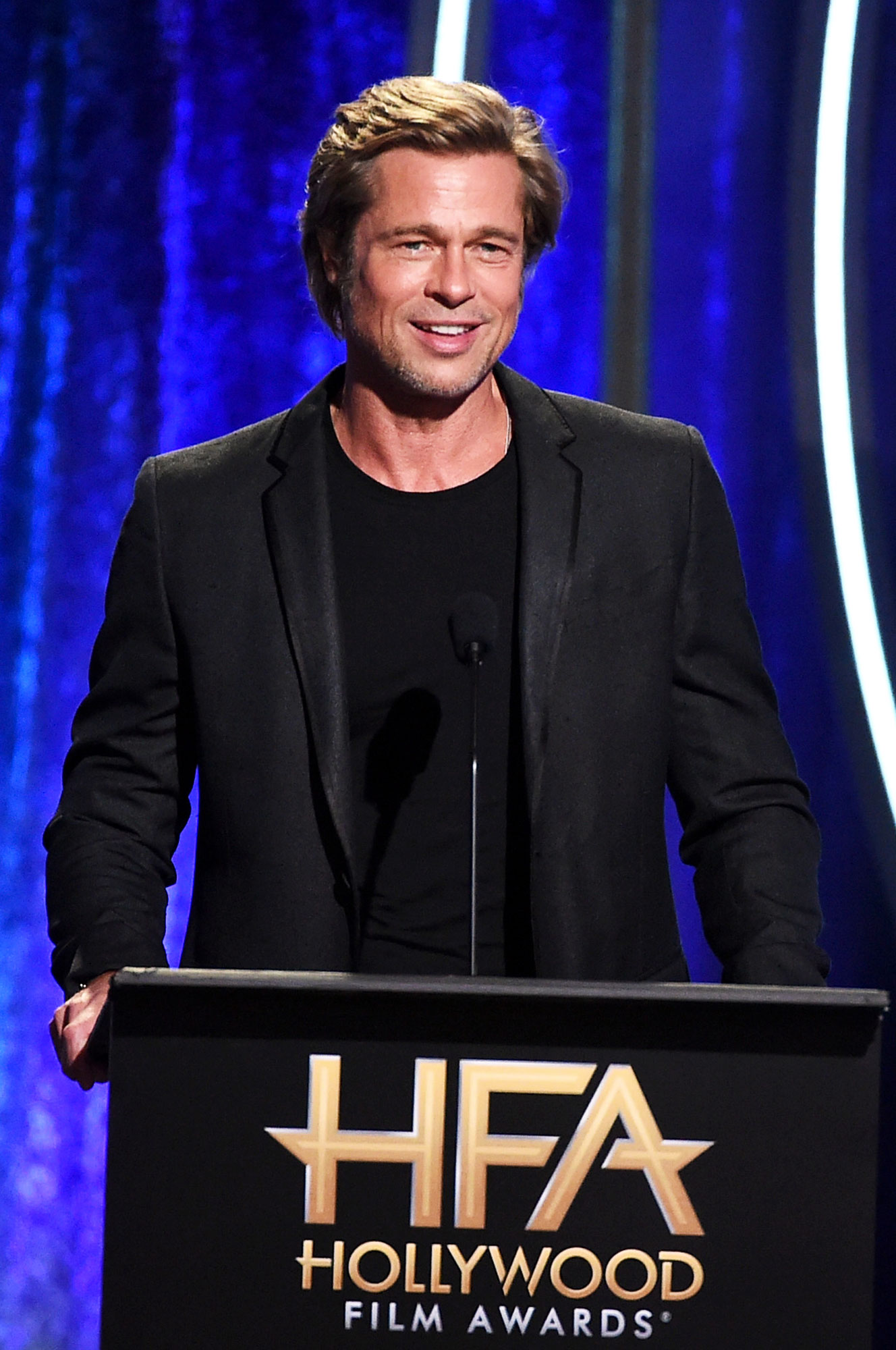 Brad Pitt Hosts Kids Overnight Ahead of Birthday - Brad Pitt speaks onstage during the 22nd Annual Hollywood Film Awards at The Beverly Hilton Hotel on November 4, 2018 in Beverly Hills, California.