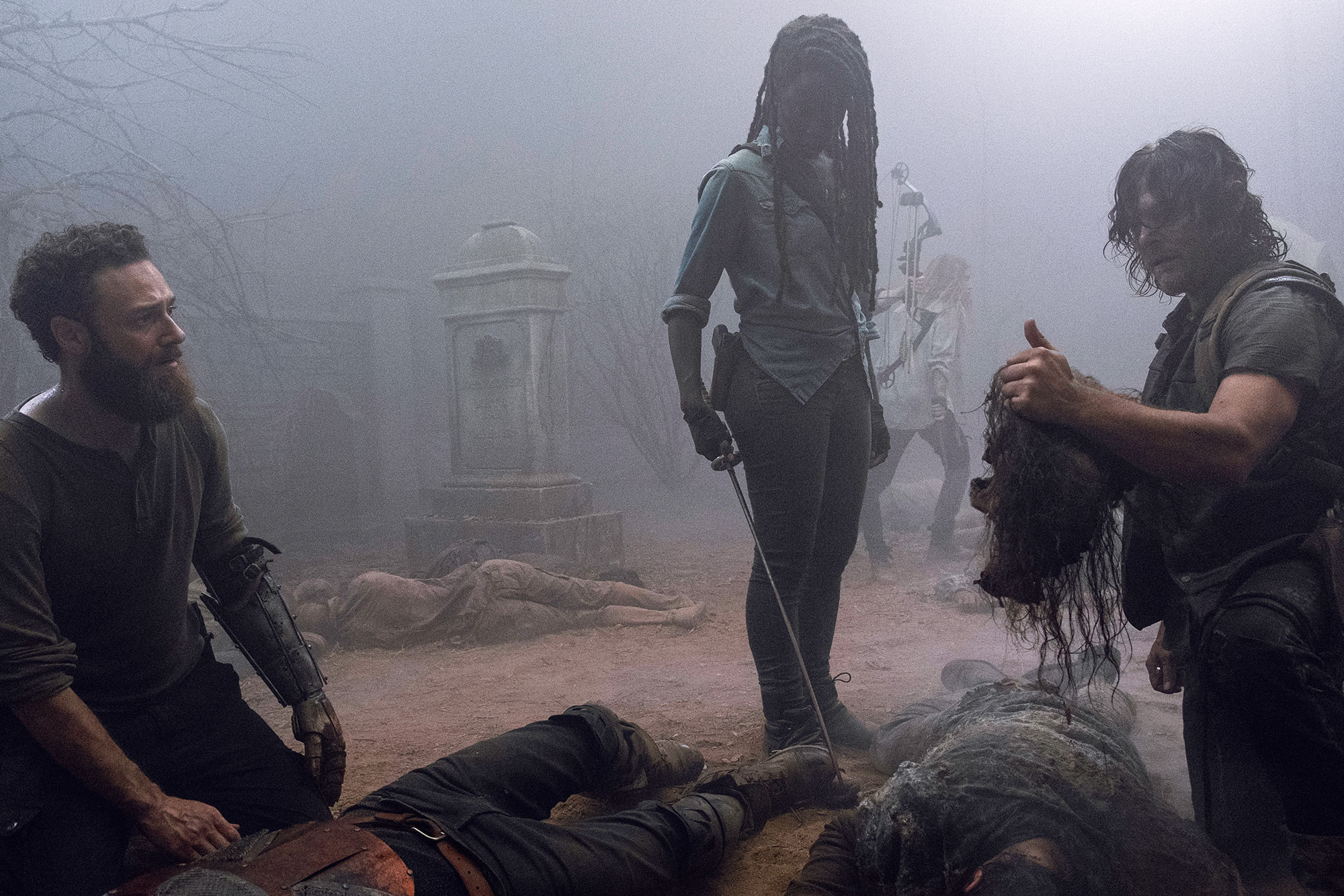 the walking dead - Norman Reedus as Daryl Dixon, Tom Payne as Paul 'Jesus' Rovia, Danai Gurira as Michonne, Ross Marquand as Aaron – The Walking Dead _ Season 9, Episode 8
