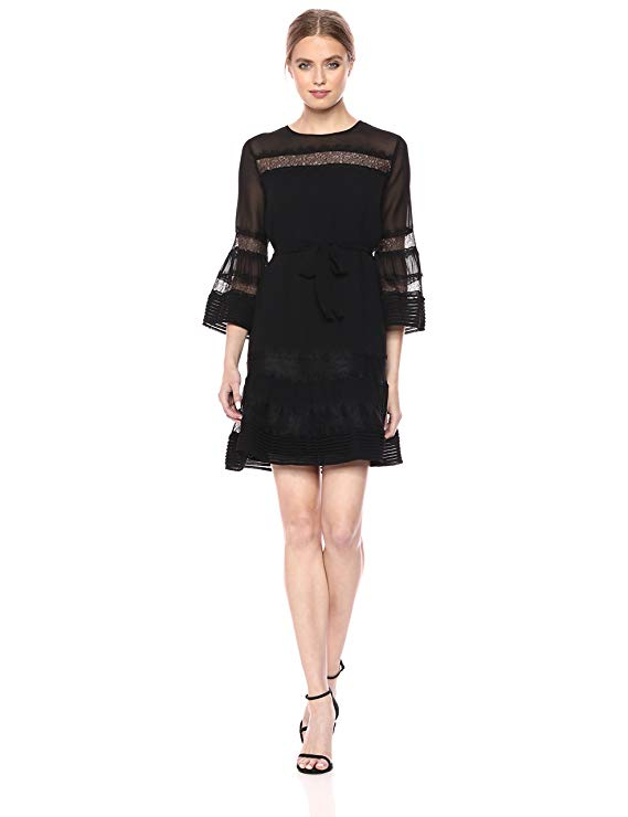 Ella Moon Women's Standard 3/4 Pintucked Dress with Bell Sleeve