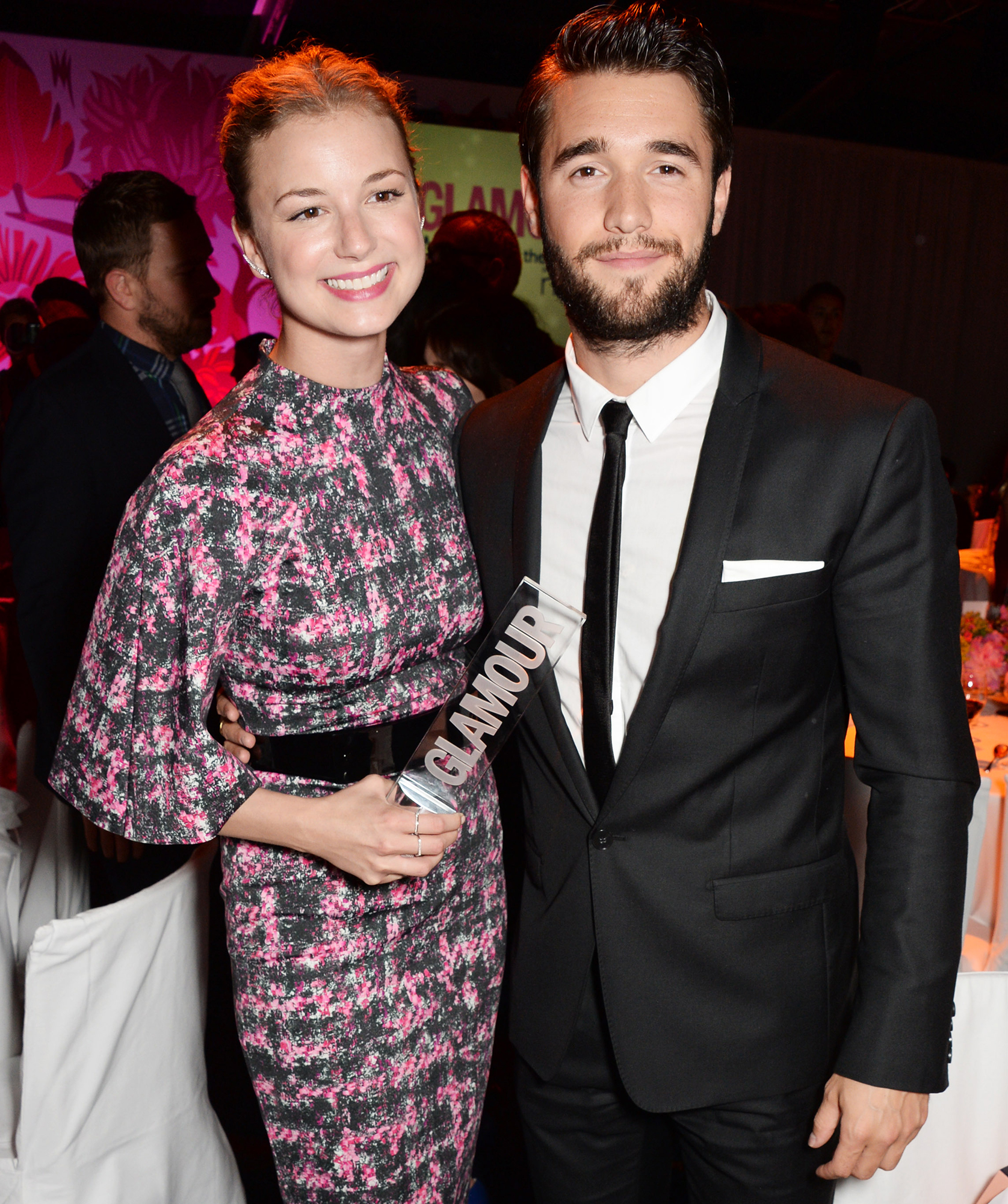 Emily VanCamp Josh Bowman Celebrate First Christmas Married Couple - Emily VanCamp and Joshua Bowman attend the Glamour Women of the Year Awards after party in Berkeley Square Gardens on June 3, 2014 in London, England.