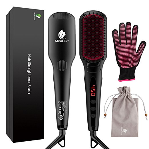 Enhanced Hair Straightener Brush by MiroPure, 2-in-1 Ionic Straightening Brush with Anti-Scald Feature, Auto Temperature Lock and Auto-off Function