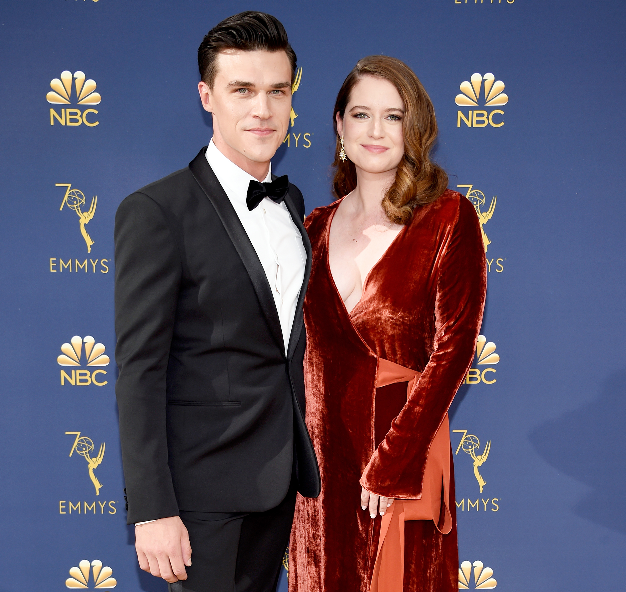 Finn Wittrock Sarah Roberts Pregnant - Finn Wittrock and Sarah Roberts attend the 70th Emmy Awards at Microsoft Theater on September 17, 2018 in Los Angeles, California.