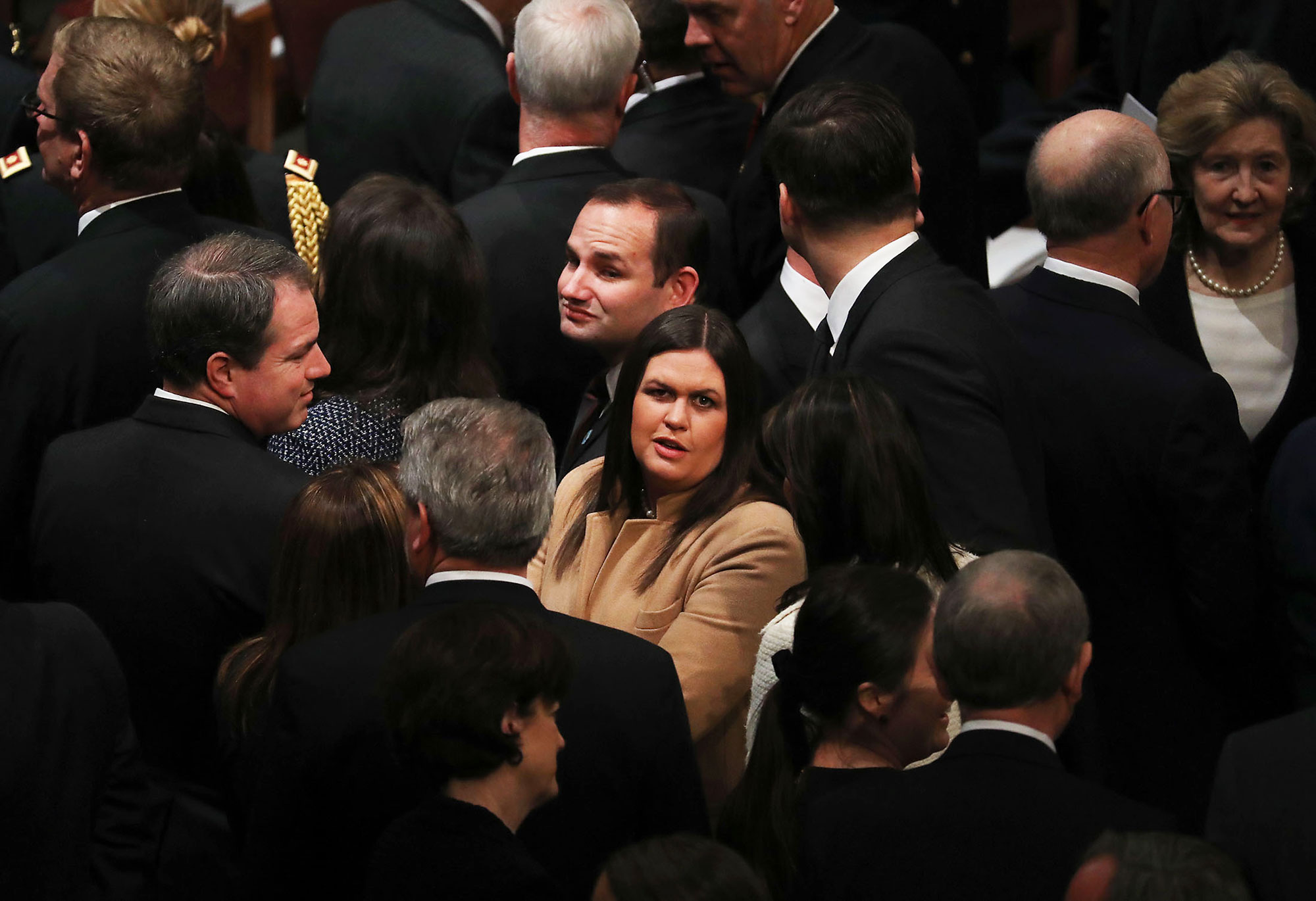 george bush funeral - The White House press secretary attended the state funeral service on Wednesday.