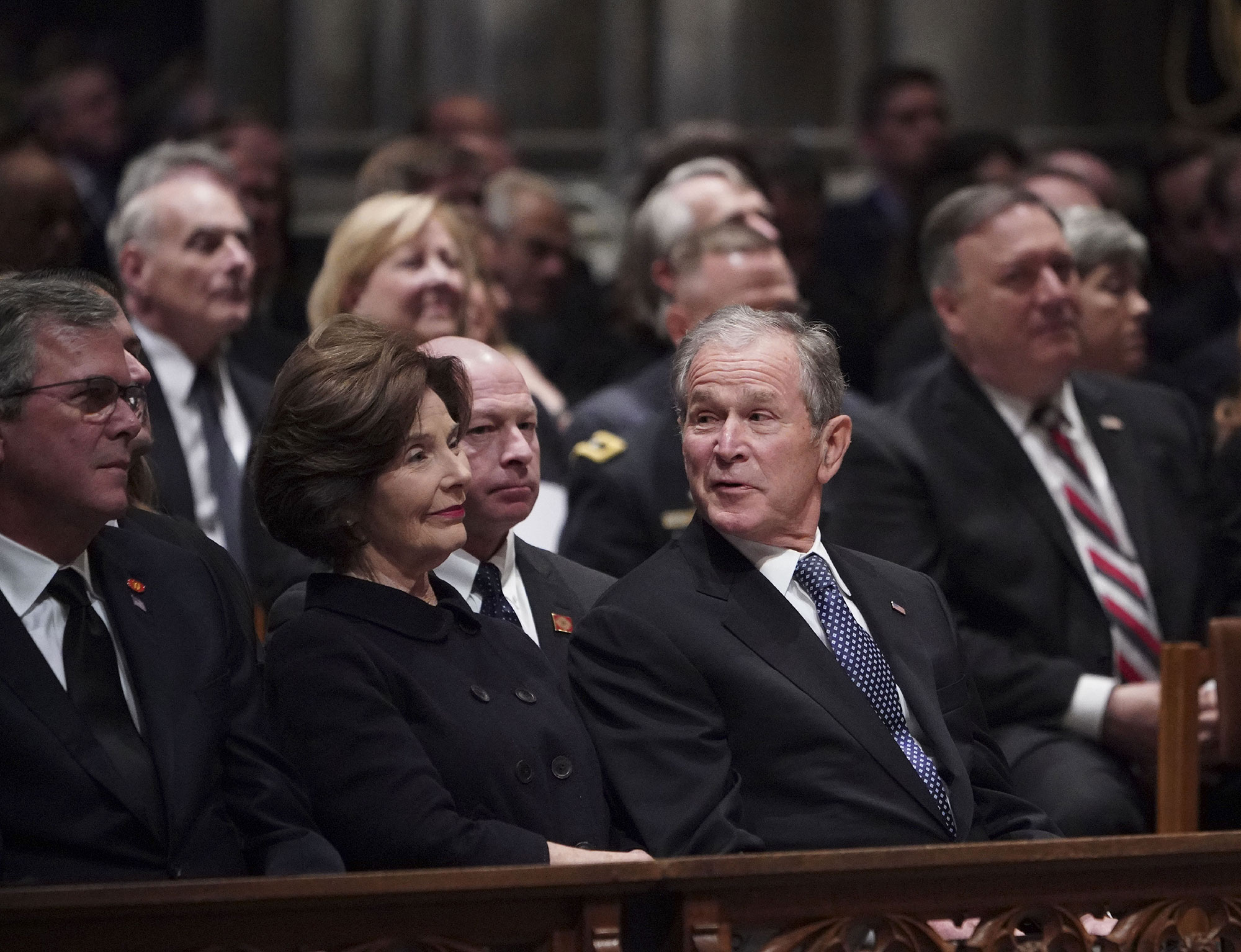 """george bush funeral - The 41st president's son, George W., arrived at the funeral with his wife, Laura. """"George H.W. Bush was a man of the highest character and the best dad a son or daughter could ask for,"""" a statement released by George W. after his father's death read."""