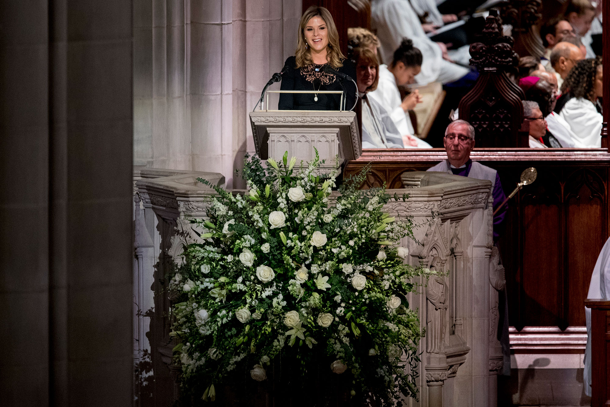 george bush funeral - The granddaughter of the late president placed her hand on his casket as she walked up to the podium to speak.