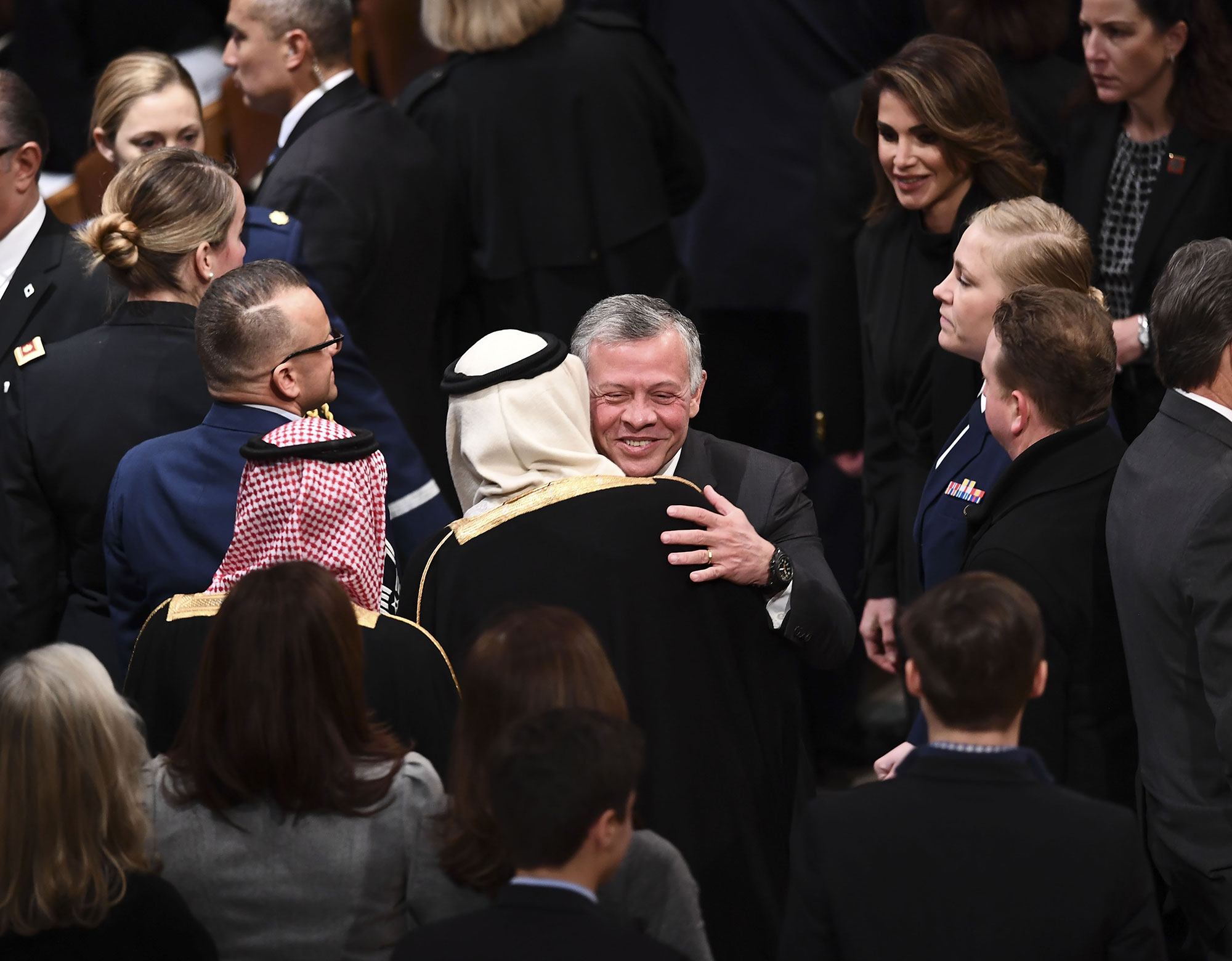 george bush funeral - The King and Queen of Jordan traveled to Washington for the occasion.