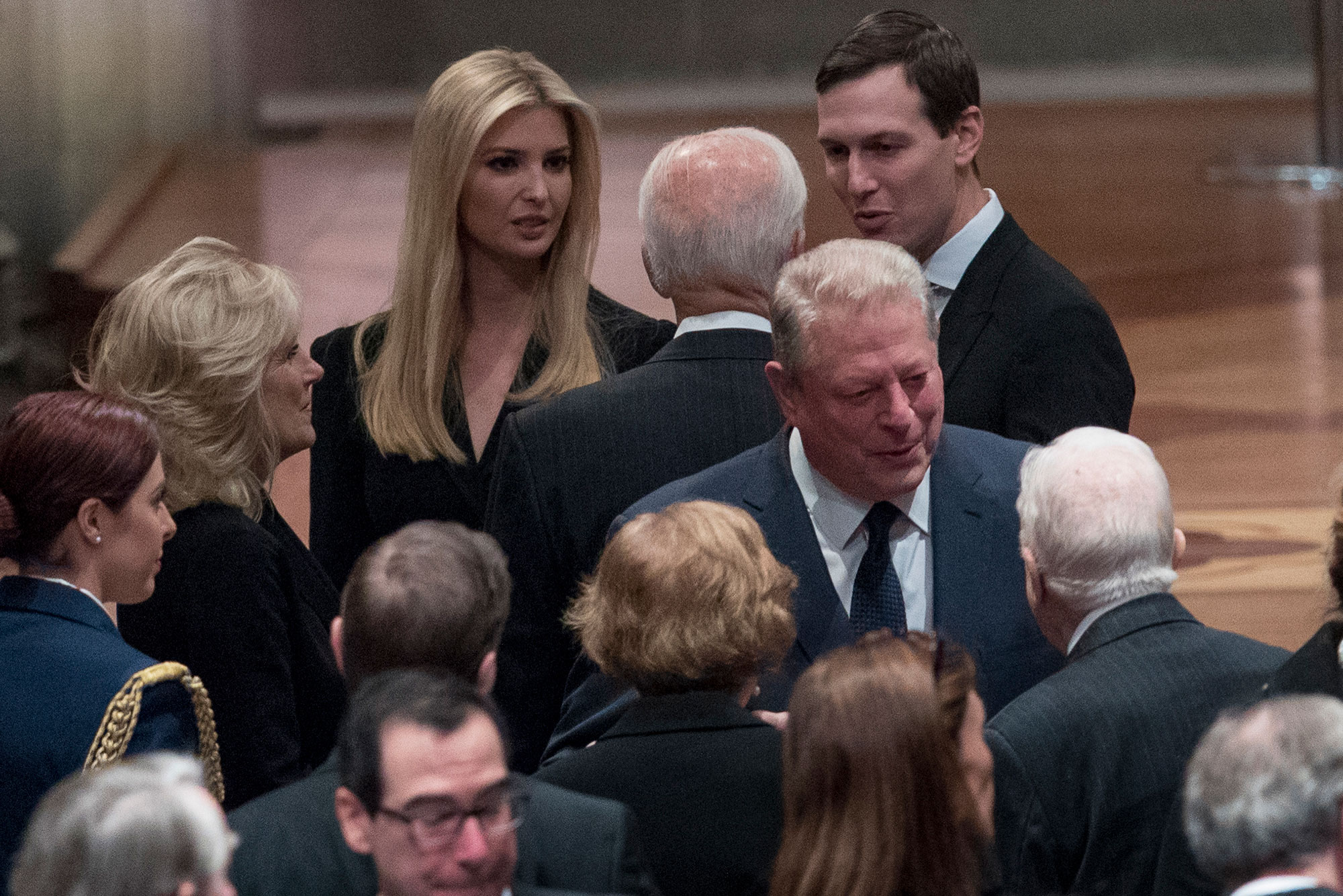 george bush funeral - The couple spoke to Jill and Joe as they entered the Cathedral.