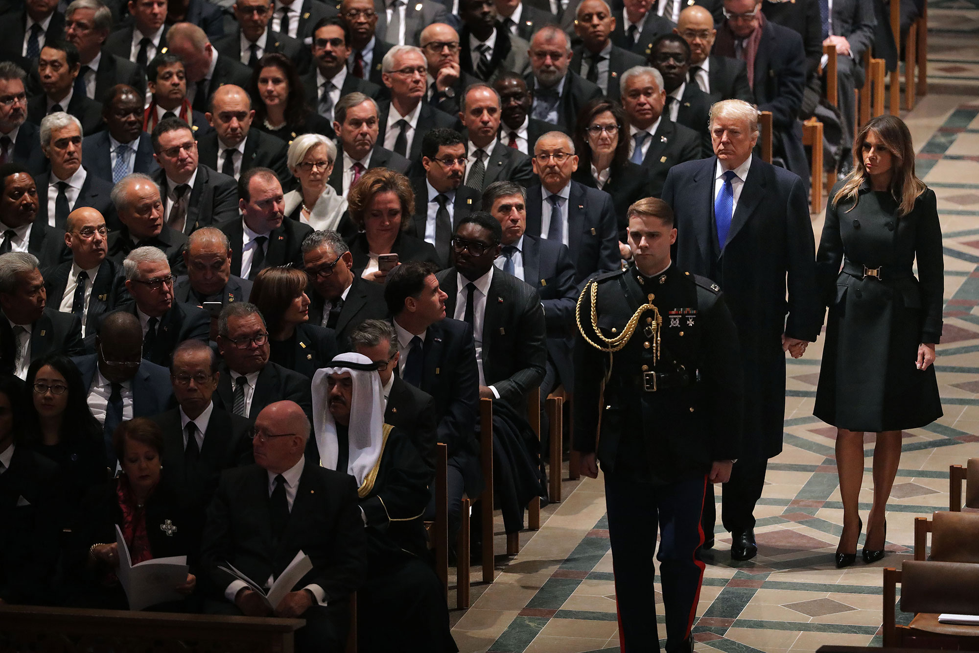 """george bush funeral - """"Looking forward to being with the Bush family. This is not a funeral, this is a day of celebration for a great man who has led a long and distinguished life,"""" the current president tweeted on Wednesday. """"He will be missed!"""""""