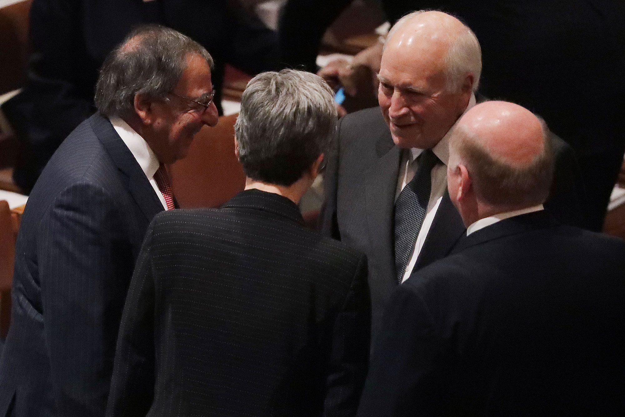 george bush funeral - The former vice president chatted with former Defense Secretary and CIA director Leon Panetta before the service began.