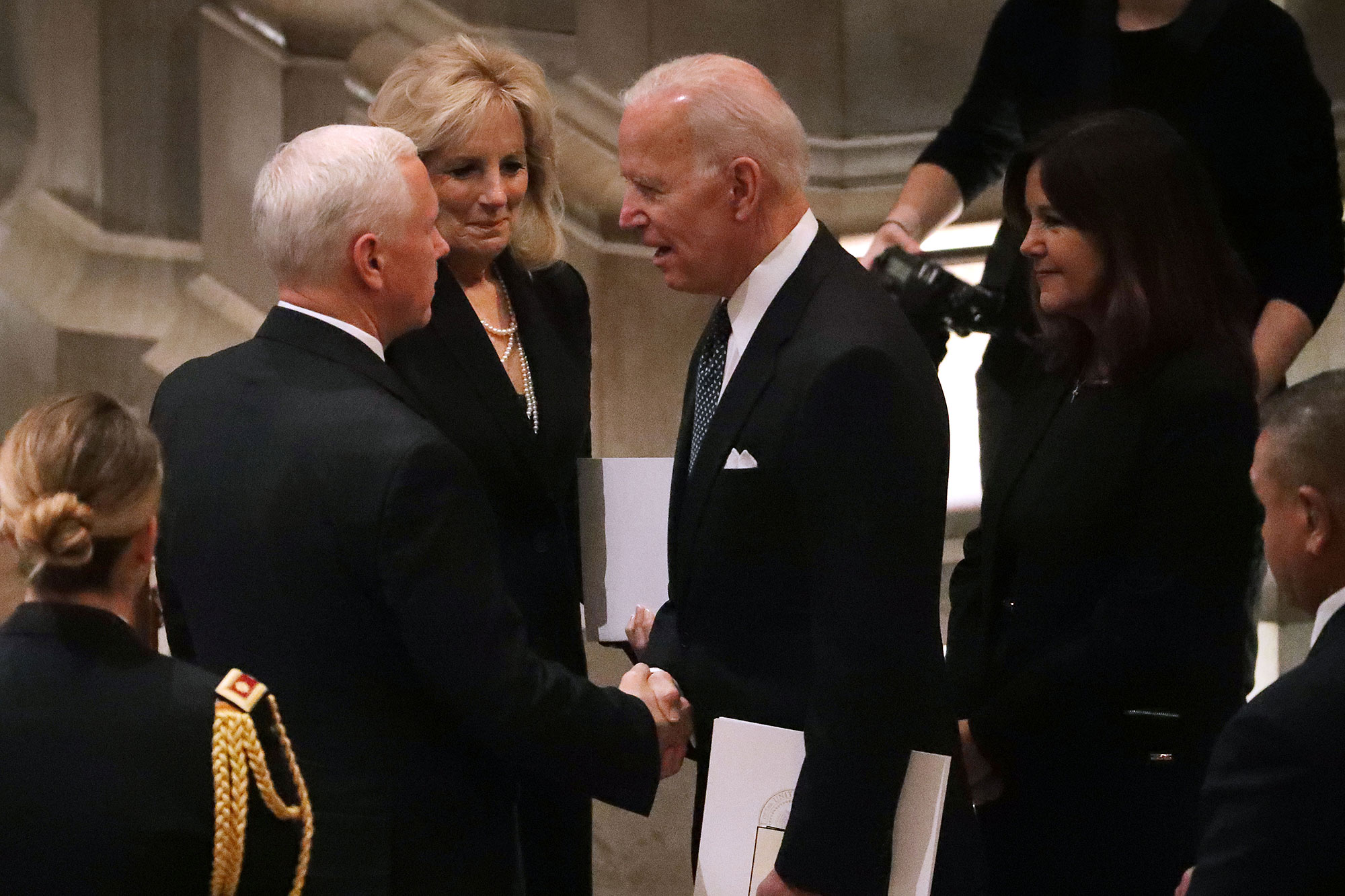 george bush funeral - The former vice president and his wife, Jill, spoke to current VP Mike Pence on Wednesday.