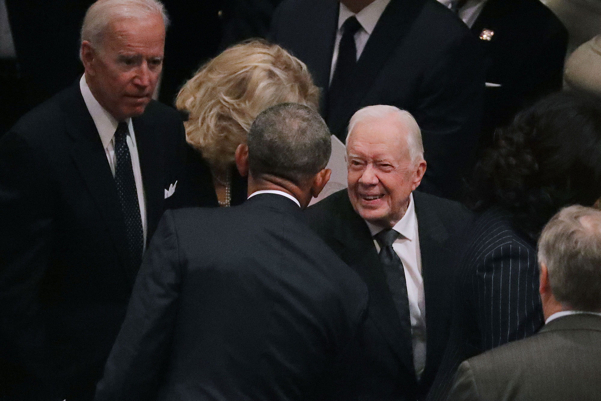george bush funeral - Barack and Joe greeted the 39th president during the state funeral.