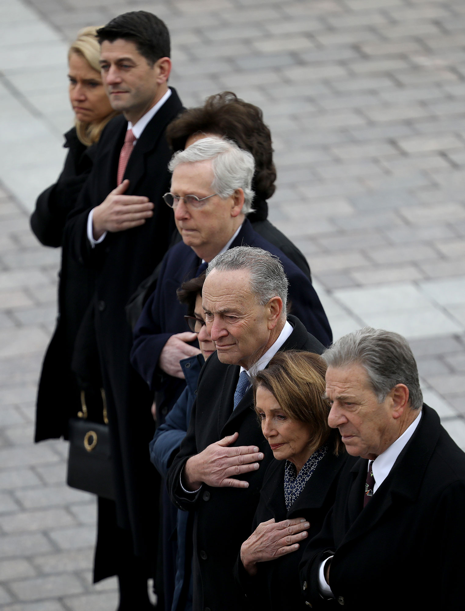 george bush funeral - The politicians paid their respects at Wednesday's service.