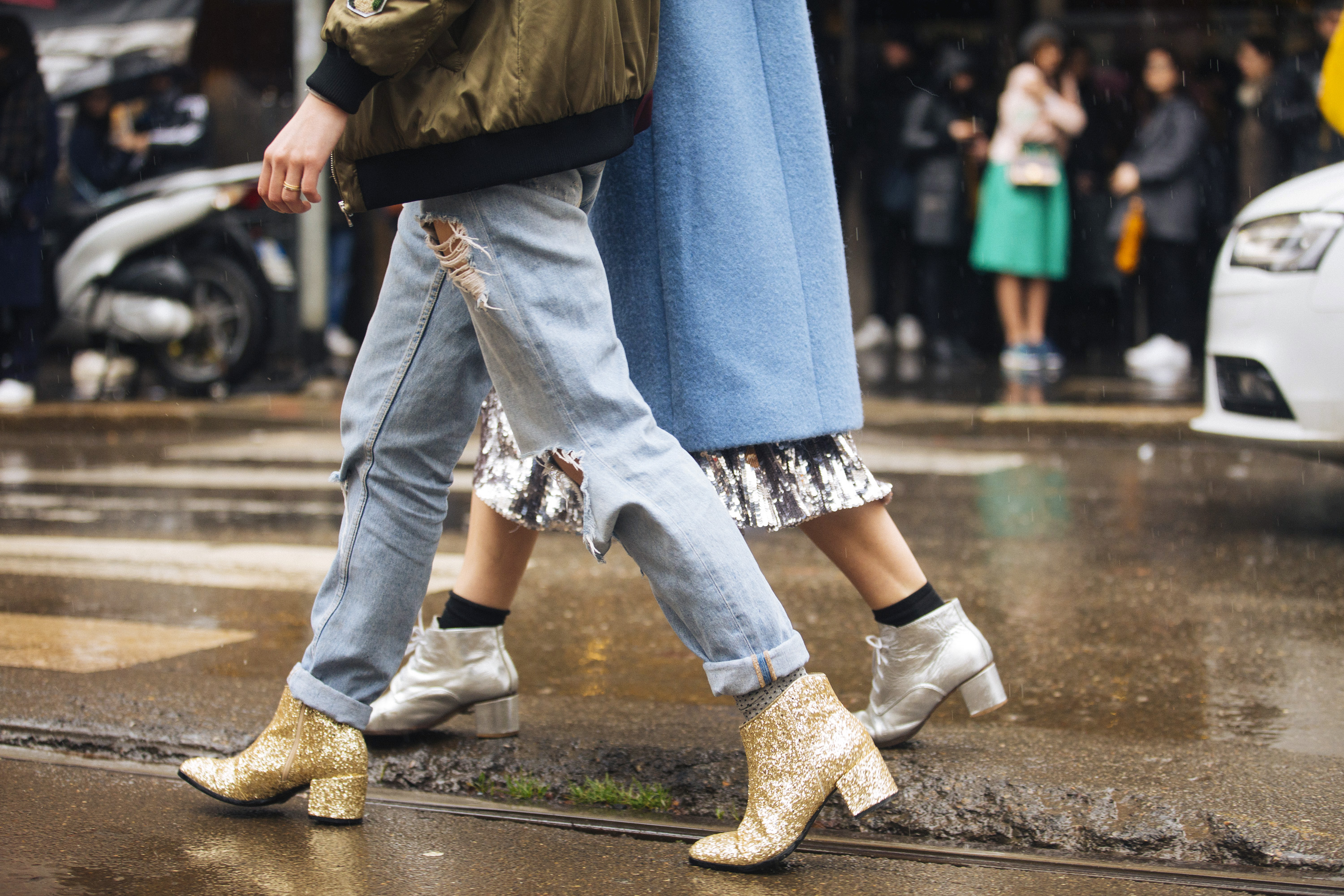 gold ankle booties with glitter - Gold glitter booties spotted at the Dolce & Gabbana show at Metropol during Milan Fashion Week Fall/Winter 2016/17 on February 28, 2016 in Milan, Italy.