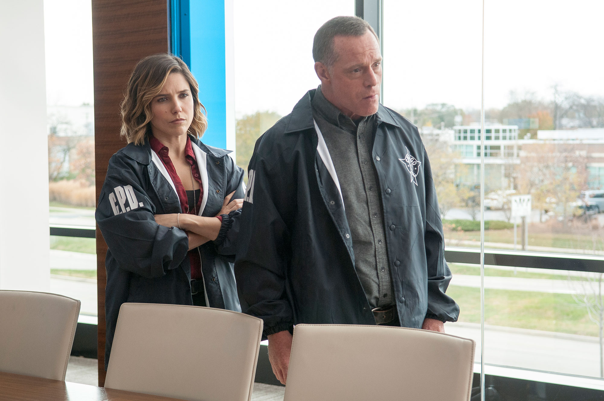 "Jason Beghe Sophia Bush - CHICAGO P.D. — ""Now I'm God"" Episode 310 — Pictured: (l-r) Sophia Bush as Erin Lindsay, Jason Beghe as Hank Voight"