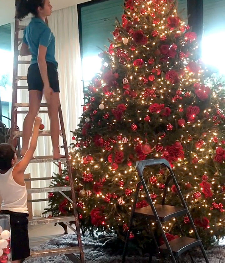 "stars go all out with holiday decorations gallery - The couple — and their combined four kids — spent some quality time together as they beautified their tree with red ornaments. ""The best times are with these lil ones ... """