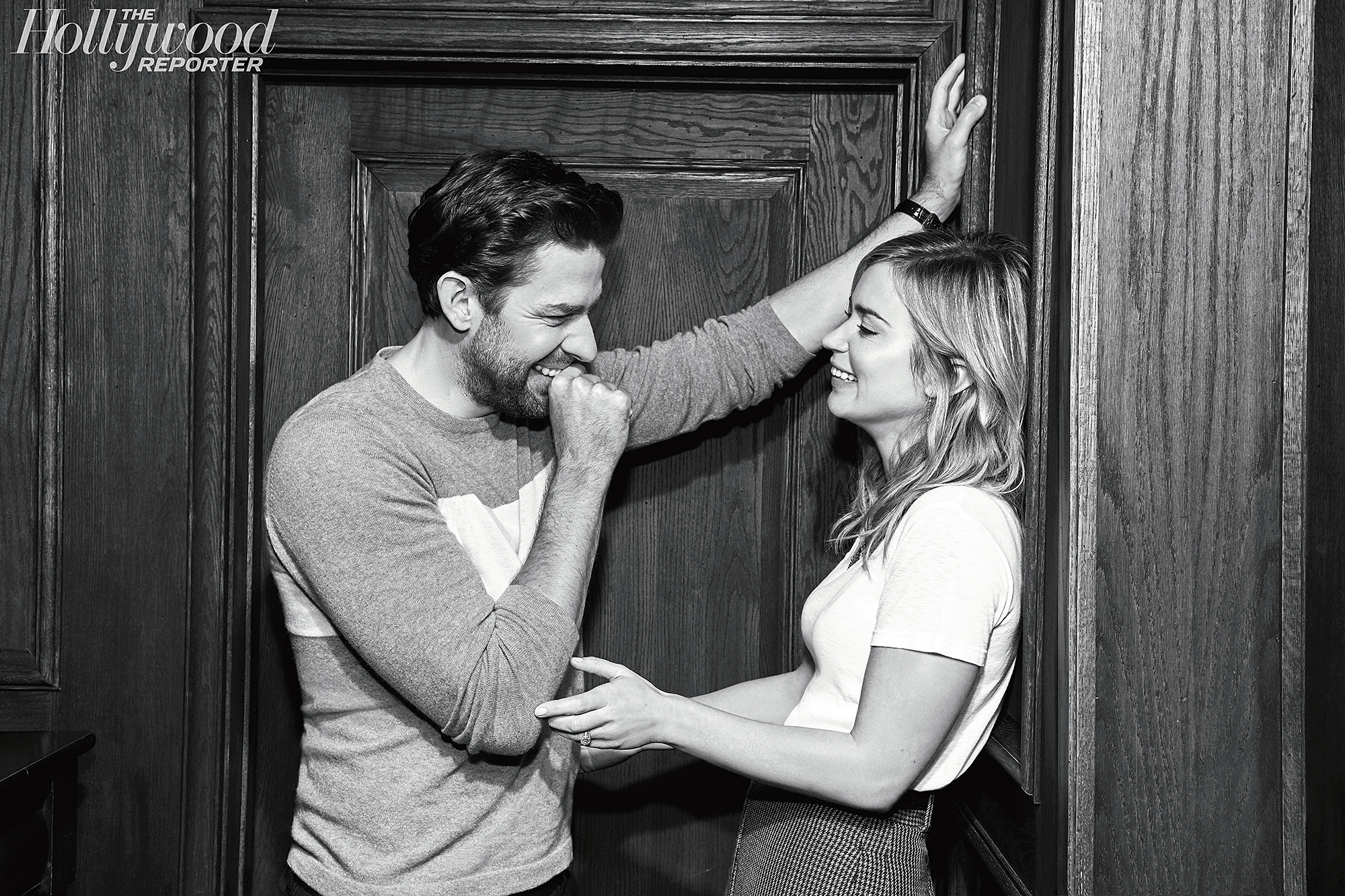 """John Krasinski Emily Blunt First Date Hollywood Reporter Rulebreakers - The pair — who met while Krasinski was dining with pal Justin Theroux — have close friendships with many other celebrities, including Chris Pratt who gushed over them to The Hollywood Reporter. """"They are a down-to-earth couple, both really fun and funny,"""" he said."""