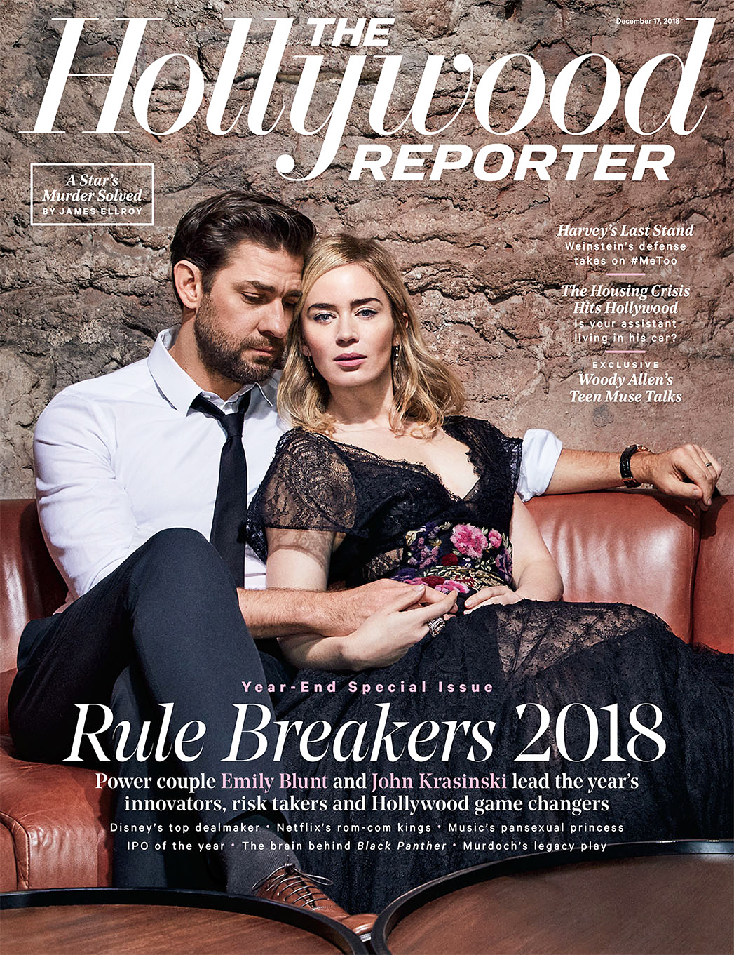 John Krasinski Emily Blunt First Date Hollywood Reporter Rulebreakers - John Krasinski and Emily Blunt on the cover of The Hollywood Reporter's 2018 Rulebreakers issue.