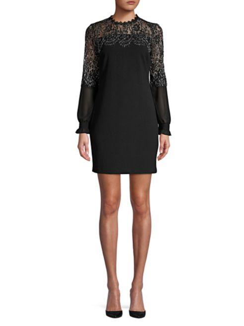 Kensie Dresses Metallic Lace Shift Dress