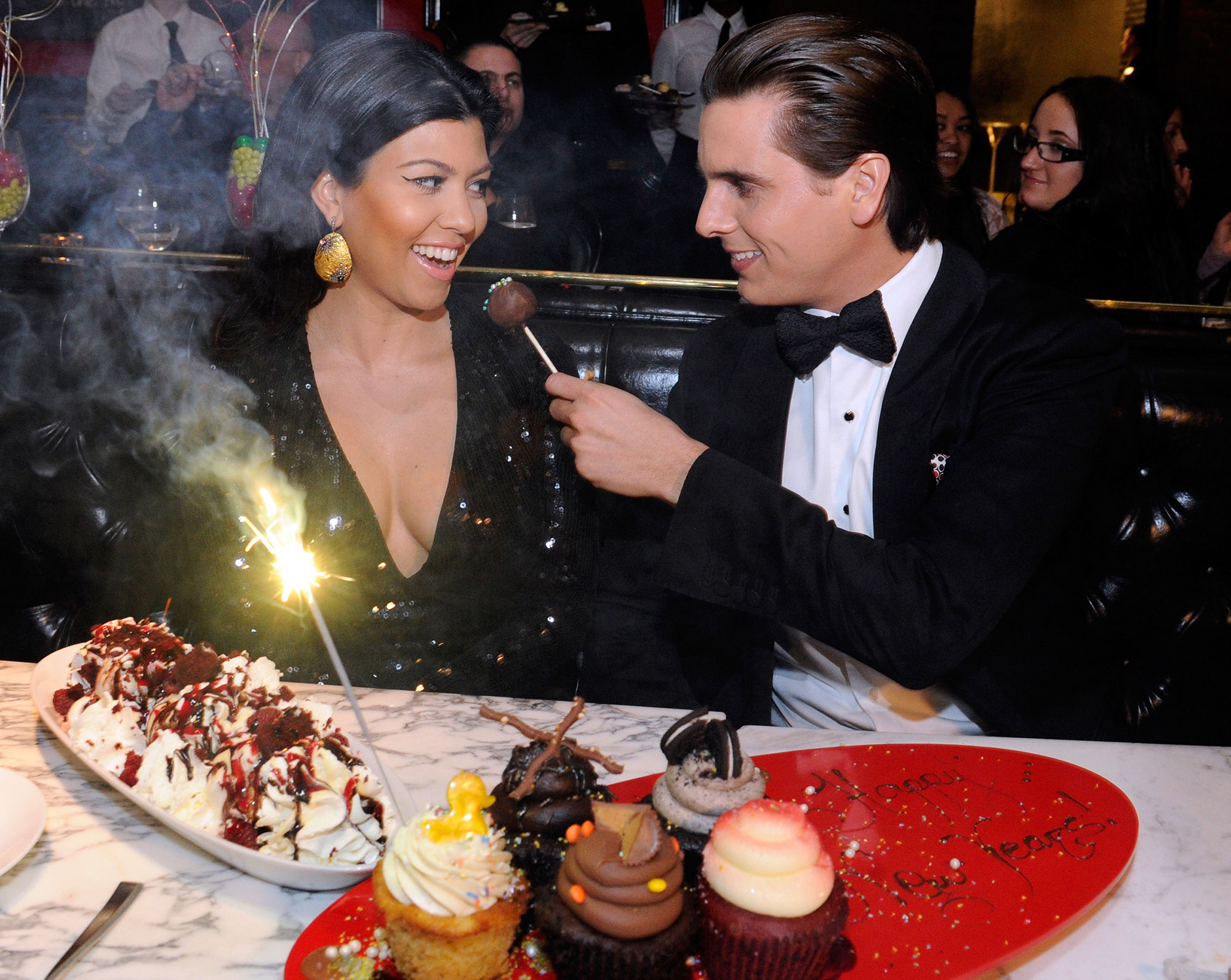 "Scott Disick and Kourtney Kardashian - On the season 1 finale of Kourtney and Kim Take New York , Disick shops for an engagement ring for his beloved, but his hopes of a proposal are dashed by a conversation the two have about marriage over dinner. ""Why mess it up?"""