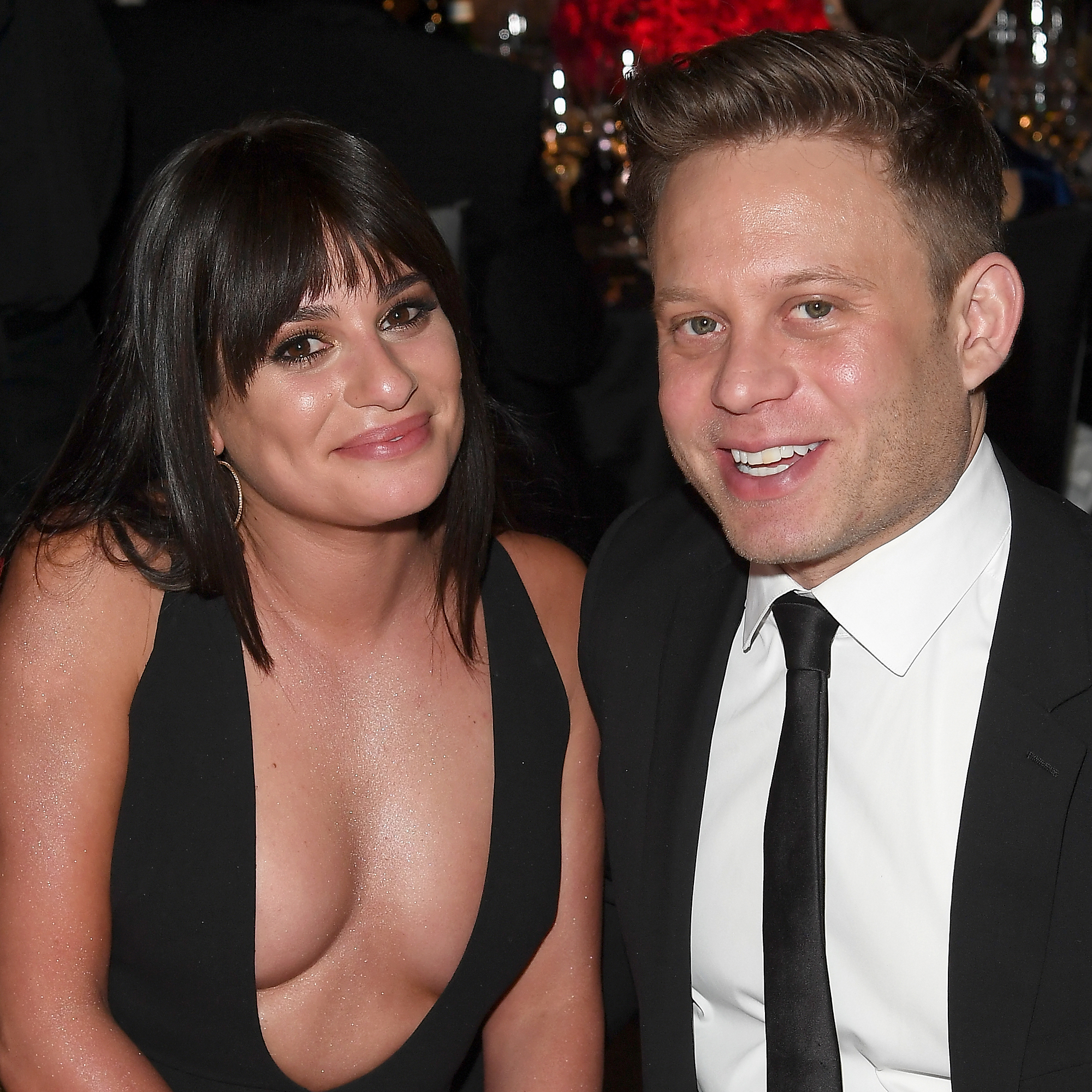 Lea Michele and Fiance Zandy Reich Bridal Shower - LOS ANGELES, CA – MARCH 04: Lea Michele (L) and Zandy Reich attends Elton John AIDS Foundation 26th Annual Academy Awards Viewing Party at The City of West Hollywood Park on March 4, 2018 in Los Angeles, California. (Photo by Venturelli/Getty Images for Bulgari)