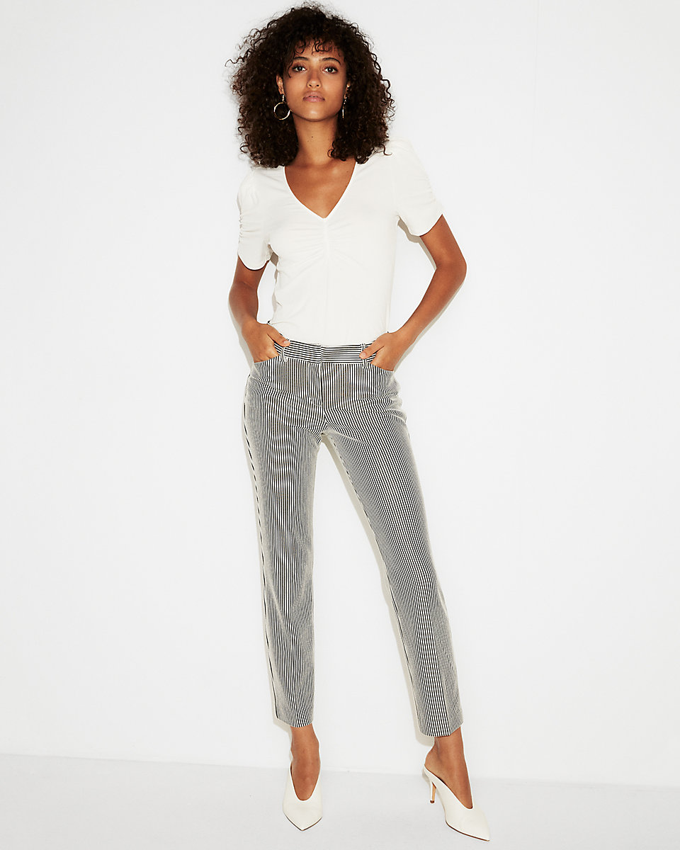 Mid Rise Striped Knit Columnist Ankle Pant