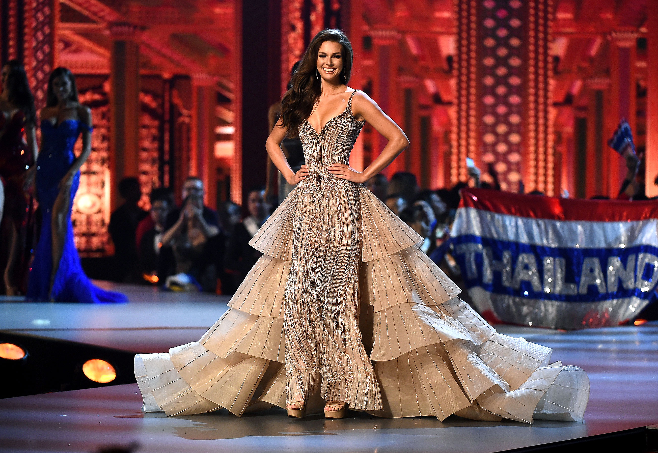 Miss-Canada-Marta-Stepien - In a beaded gown featuring a tiered train.