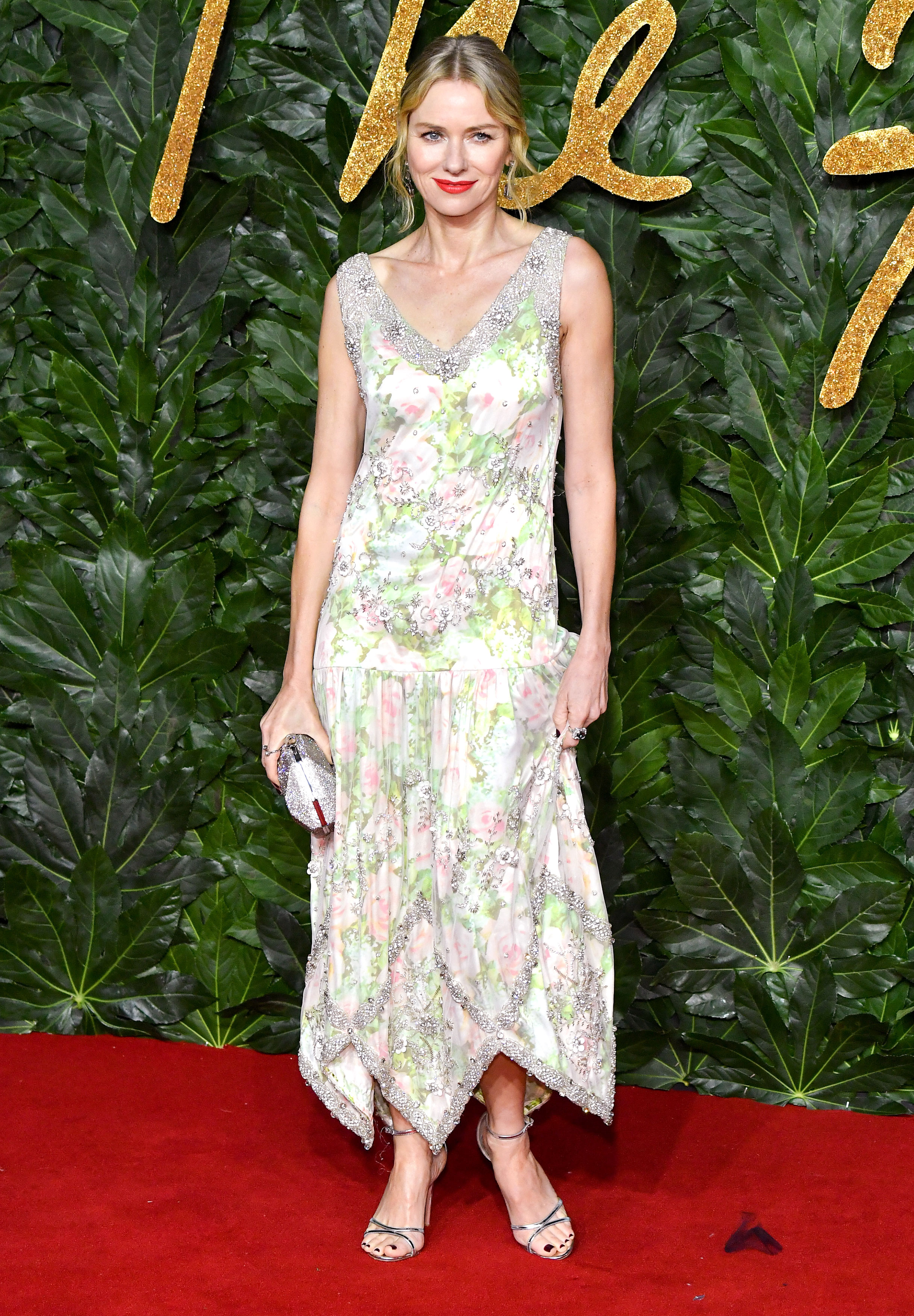Naomie-Watts - A garden party IRL, the actress stunned in a floral-print Richard Quinn frock and Awarovski jewels.