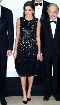 Queen-Letizia-of-Spain-black-polka-dot-dress