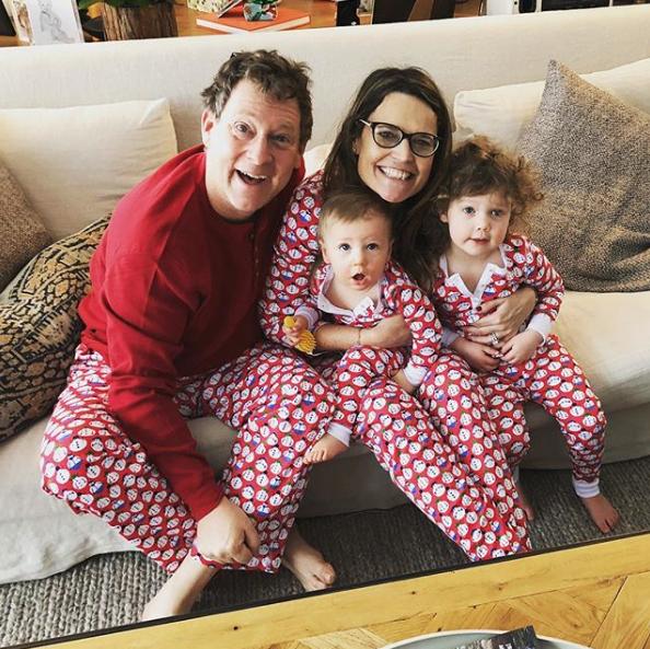 Family Christmas Pajamas Photoshoot.Celebrities Wearing Matching Holiday Christmas Pajamas Pics