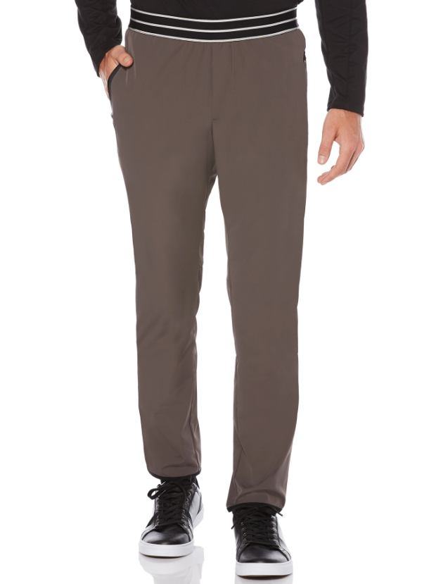 grey perry ellis joggers with a striped waist band