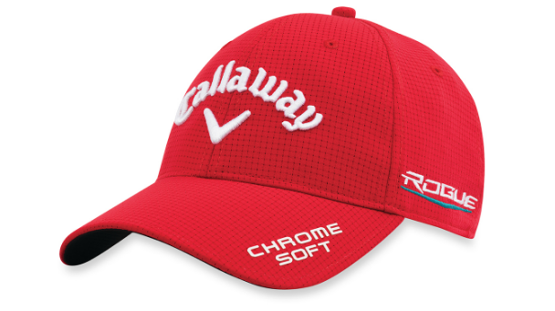 a red golf cap shaped like a baseball cap with white writing on it